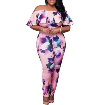 Lovely Casual Flounce Design Off The Shoulder Pink Plus Size One-piece Jumpsuit