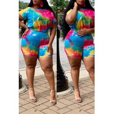 Lovely Casual Tie-dye Red Two-piece Plus Size Shorts Set