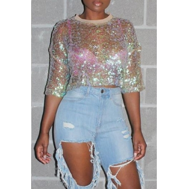 Lovely Casual O Neck Sequined Decorative Multicolor T-shirt