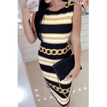 Lovely Leisure O Neck Printed Black Knee Length Dress