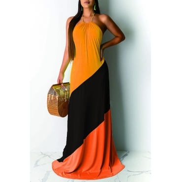 Lovely Casual Off The Shoulder Patchwork Yellow Floor Length Dress