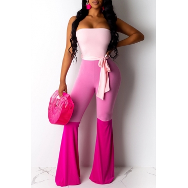 Lovely Trendy Color-lump Patchwork Pink One-piece Jumpsuit