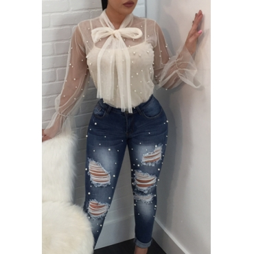 Lovely Chic See-through White Blouse(With Lining)