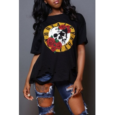 Lovely Casual O Neck Floral Printed Black T-shirt
