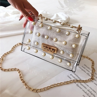 Lovely Trendy Chain Strap See-through White Crossbody Bag