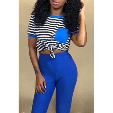 Lovely Casual O Neck Striped Blue T-shirt