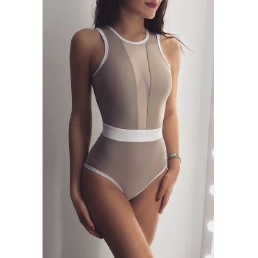 Lovely  Patchwork Khaki One-piece Swimwear
