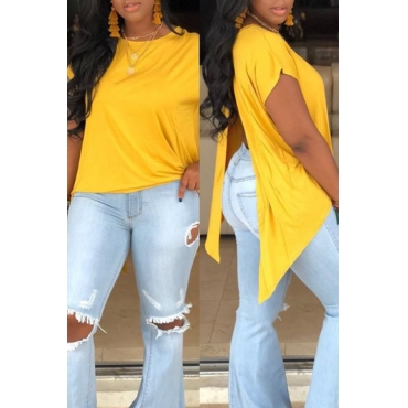 Lovely Casual O Neck Asymmetrical Split Yellow T-shirt