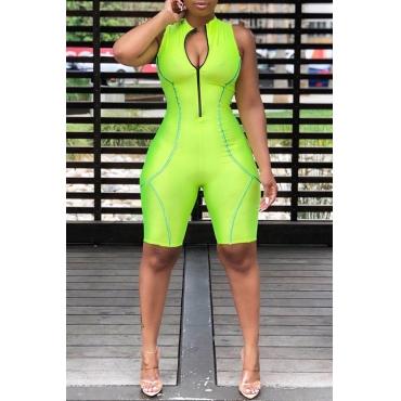 Lovely Casual Zipper Design Green One-piece Romper