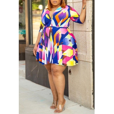 Lovely Trendy Geometric Printed Multicolor Mini Plus Size Dress