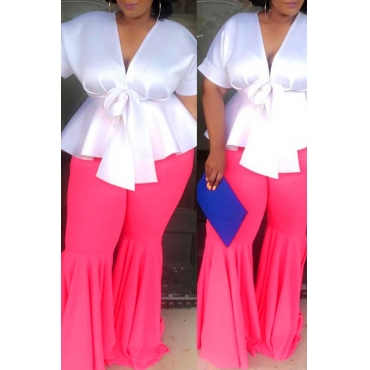 Lovely Casual Flounce Design Pink Plus Size Pants