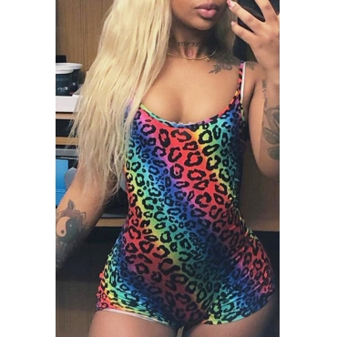 Lovely Leisure Spaghetti Straps Leopard Printed Multicolor One-piece Romper