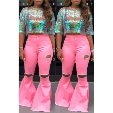 Lovely Casual Mid Waist Broken Holes Pink Pants