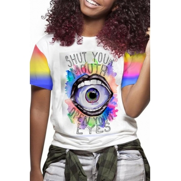 Lovely Casual O Neck Printed Multicolor T-shirt