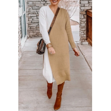 Lovely Color-lump Patchwork Khaki Long Sweaters