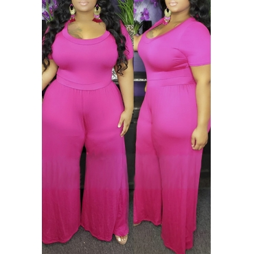 Lovely Casual Loose Rose Red Plus Size One-piece Jumpsuit