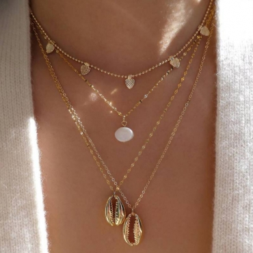 Lovely Chic Cascading Gold Alloy Necklace