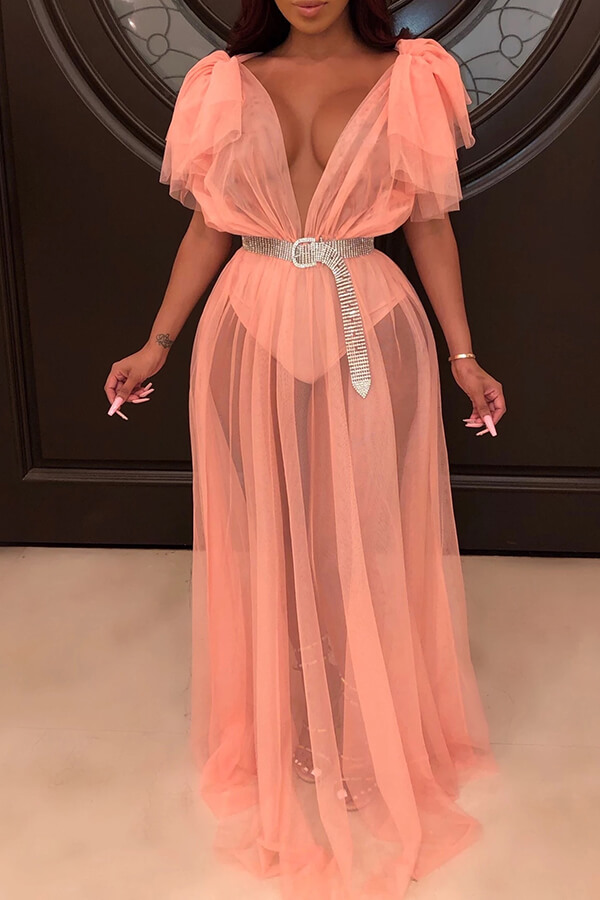 Lovely Sexy See-through Orange Floor Length Dress(Without Belt)