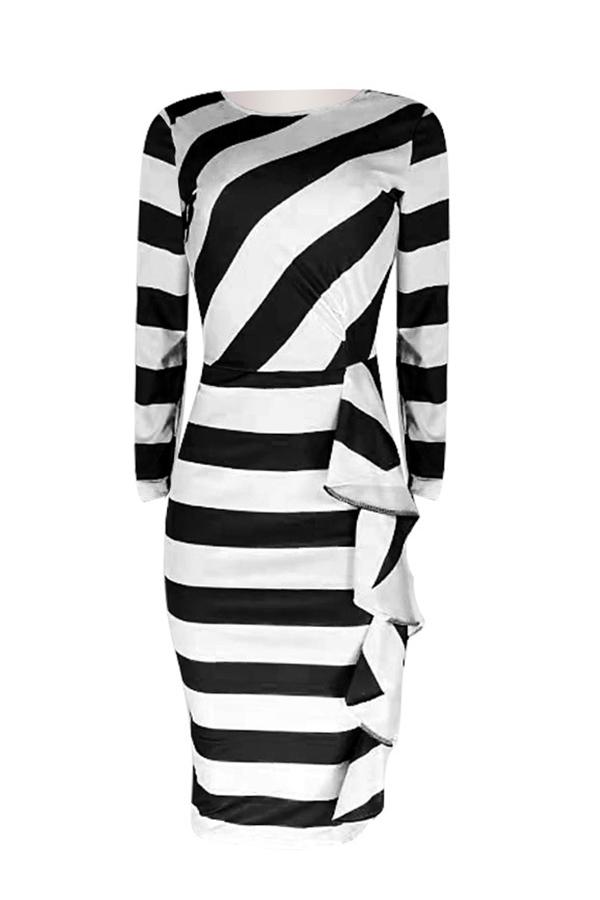 Lovely Work Striped Patchwork Black Knee Length Dress