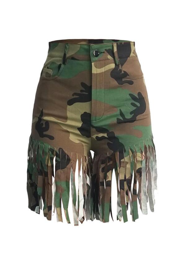 Lovely Street Camouflage Printed Tassel Design Shorts