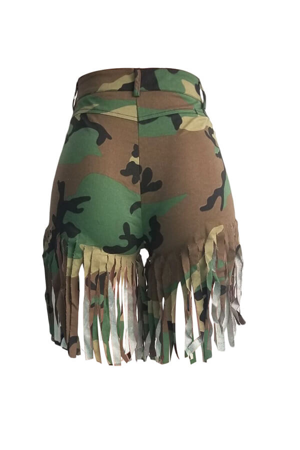 Lovely Street Camouflage Printed Tassel Design Shorts