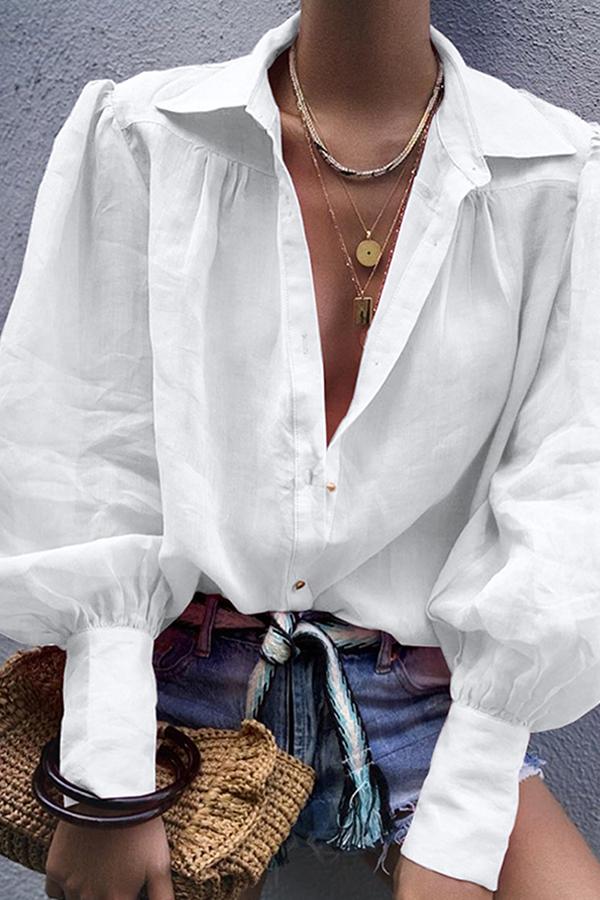 Lovely Trendy Turndown Collar White Blouse