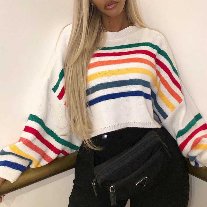Lovely Trendy Striped White Sweaters