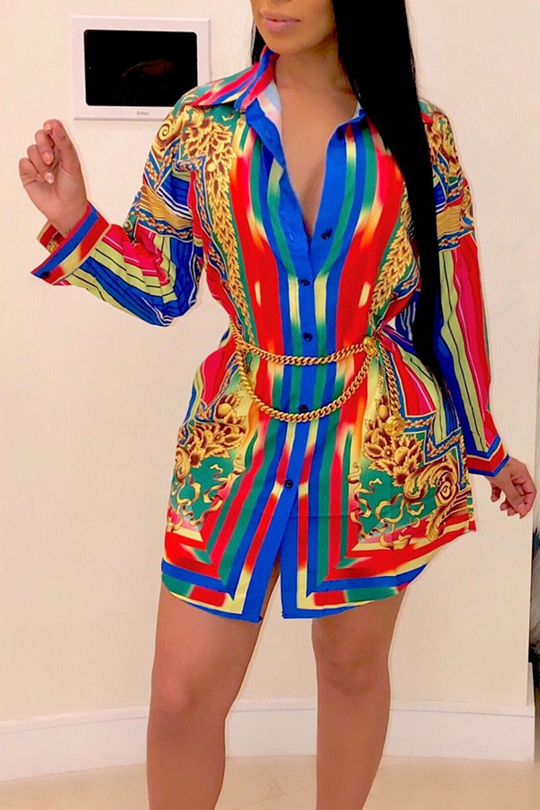 Lovely Casual Turndown Collar Printed Muticolor Mini Dress(Without Belt)