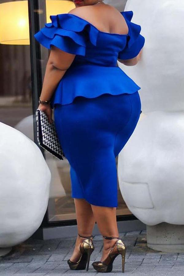 Lovely Casual Flounce Design Blue Knee Length Plus Size Dress