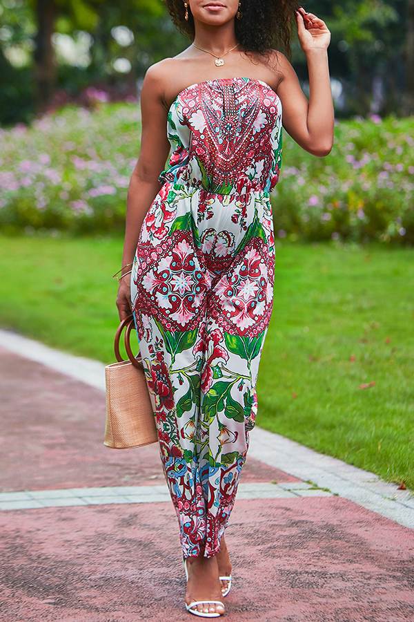 Lovely Trendy Deep V Neck Printed Multicolor One-piece Jumpsuit