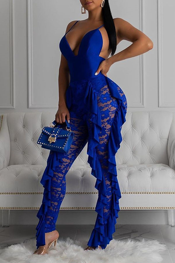 Lovely Sexy Patchwork Blue One-piece Jumpsuit