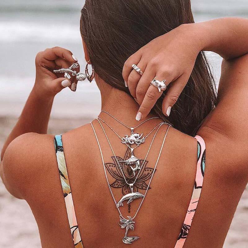 Lovely Bohemian  Cascading Sliver Alloy Necklace