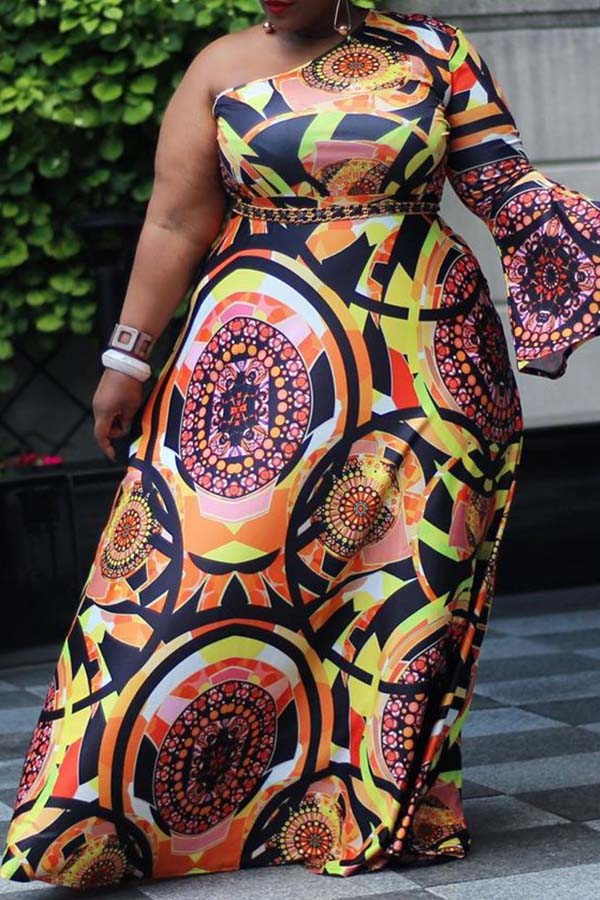 Lovely Casual One Shoulder Printed Multicolor Floor Length Plus Size Dress