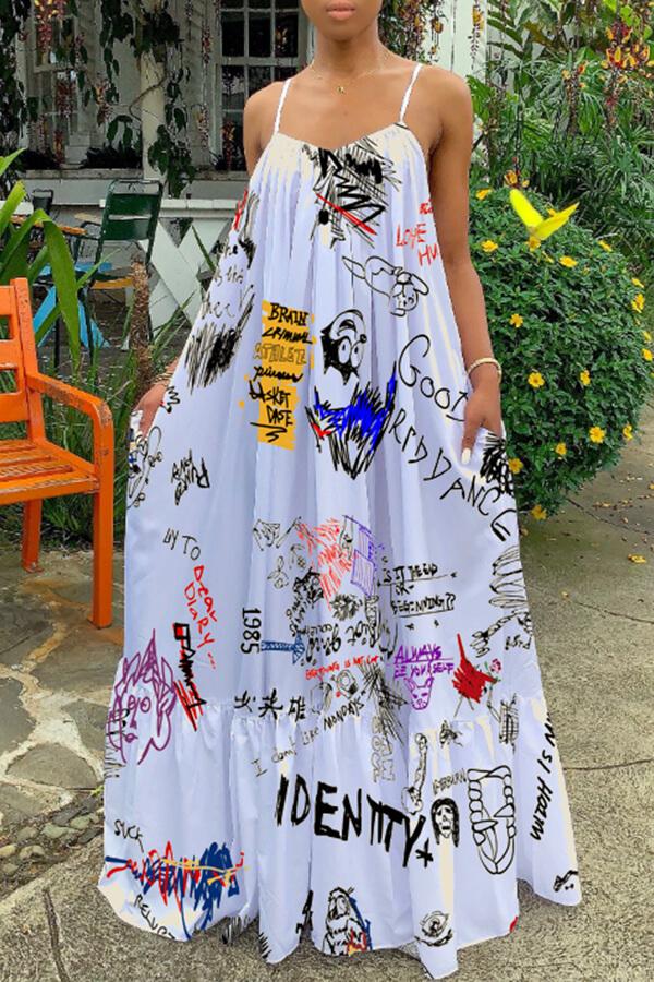 Lovely Casual Spaghetti Straps Printed White Floor Length Dress