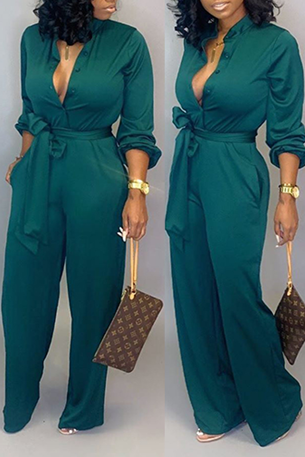 Lovely Work Lace-up Loose Green One-piece Jumpsuit