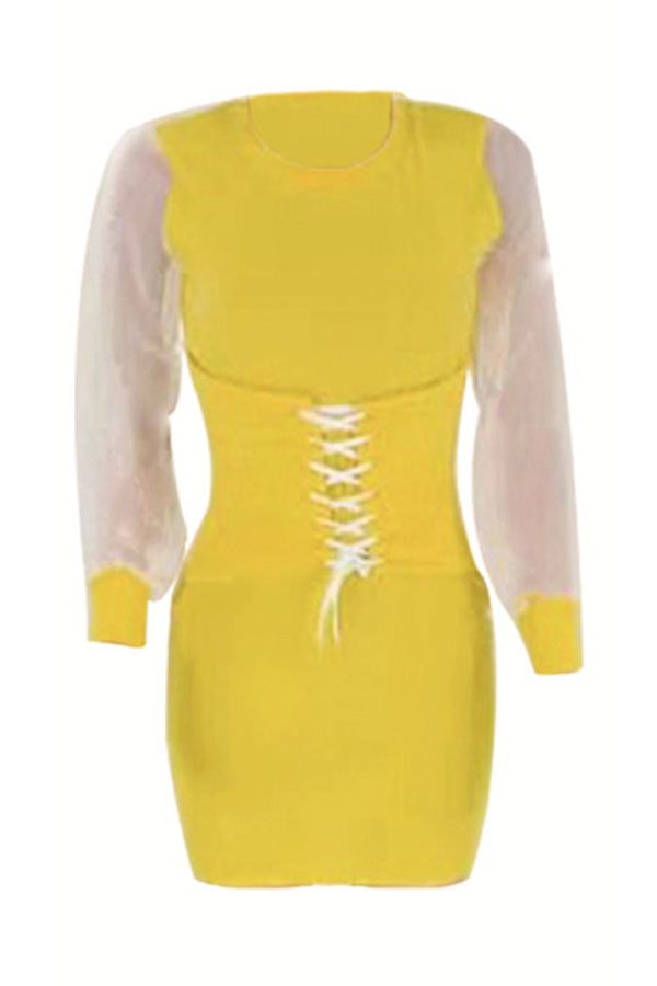 Lovely Casual O Neck Bandage Design Yellow Mini Dress