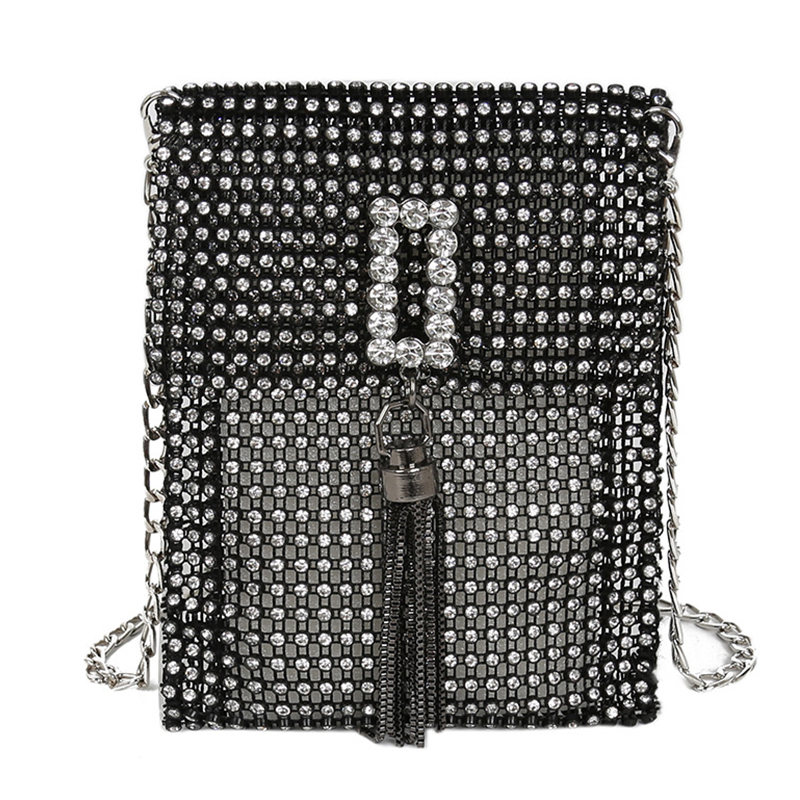 Lovely Casual Rhinestone Decorative Black Messenger Bag