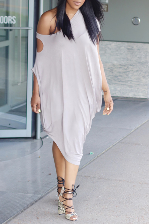 Lovely Casual One Shoulder Hollow-out Brown Dress