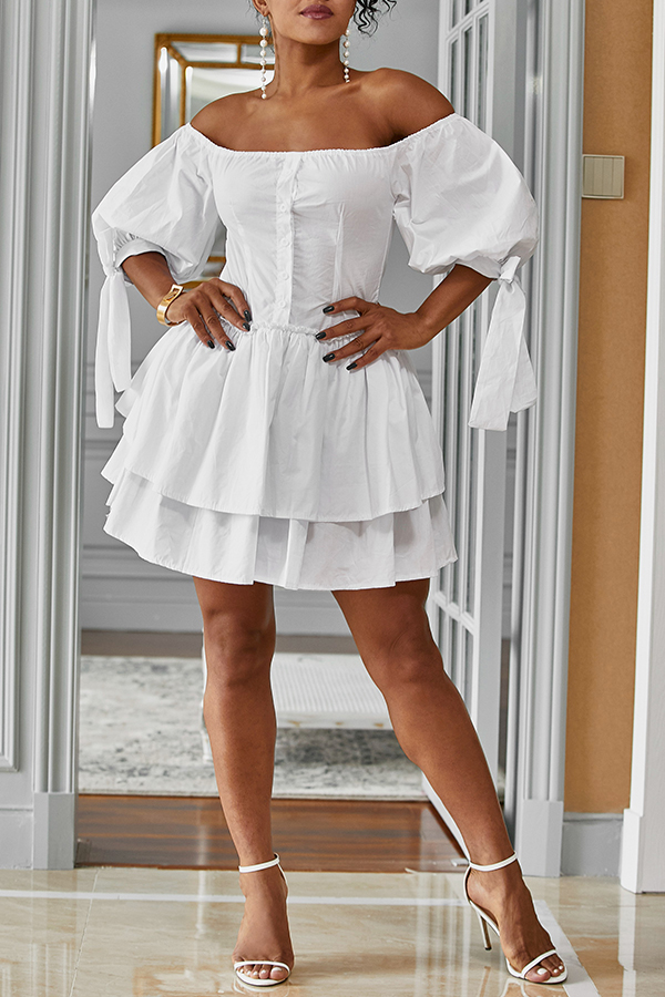 Lovely Stylish Off The Shoulder Ruffle White Mini Cake Dress