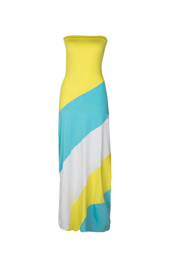Lovely Fashion Bateau Neck Patchwork Yellow Polyester Floor Length Dress