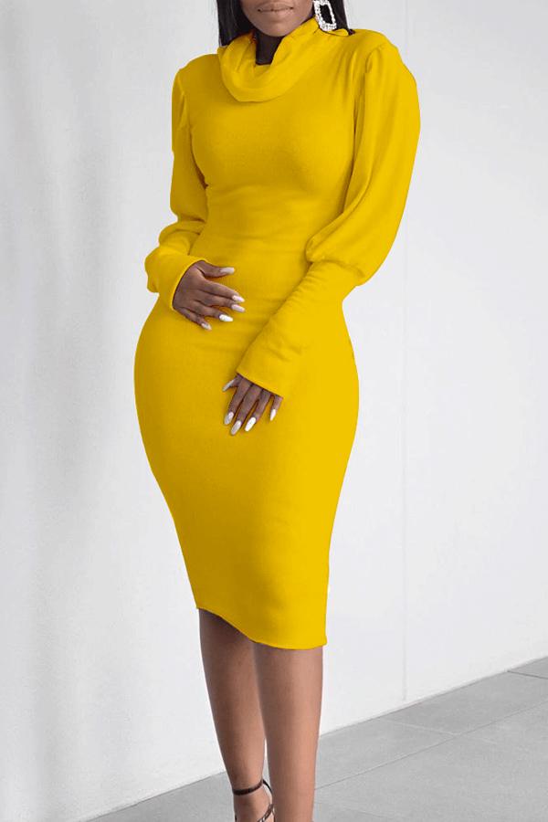 Lovely Casual Turtleneck Ruffle Design Yellow Knee Length Dress