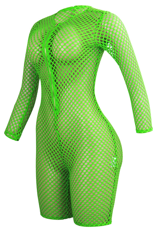 Lovely Sexy Hollow-out Green One-piece Romper