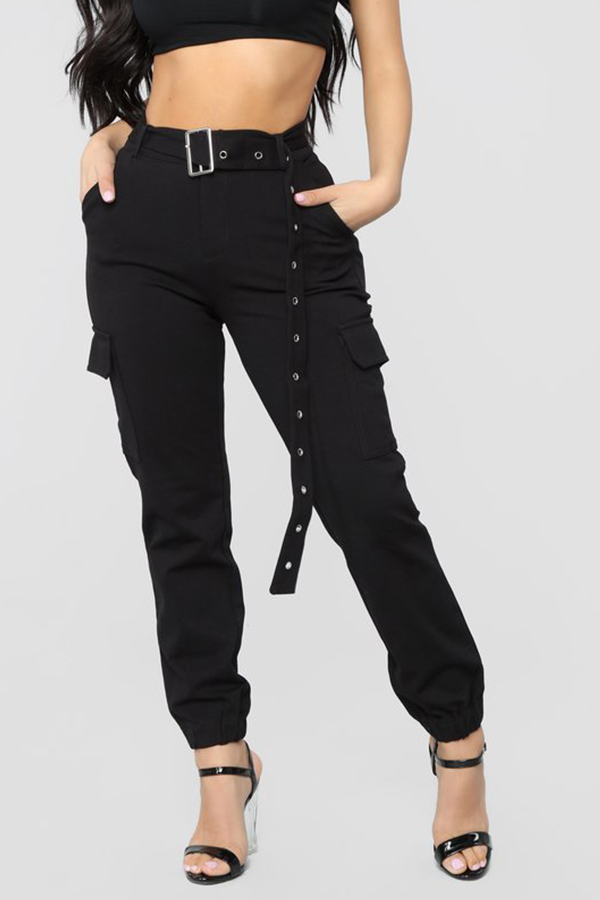 Lovely Casual Pockets Design Black Pants