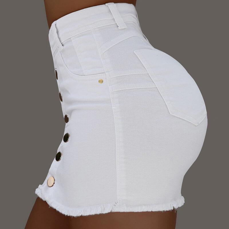Lovely Casual Buttons Design White Mini Skirt