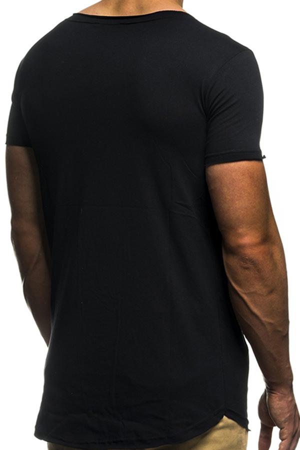 Lovely Casual Zipper Decorative Black T-shirt