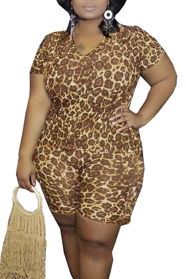 Lovely Casual Printed Coffee Plus Size Two-piece Shorts Set