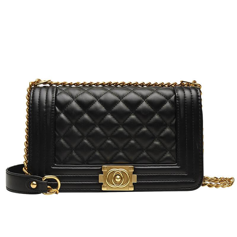Lovely Casual Chain Strap Black Messenger Bag