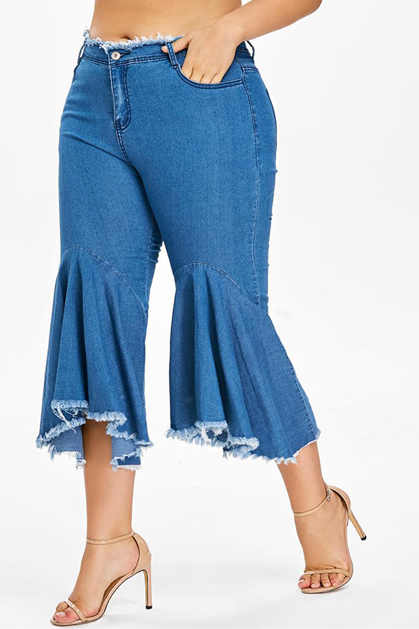 Lovely Casual Flounce Design Baby Blue Plus Size Jeans