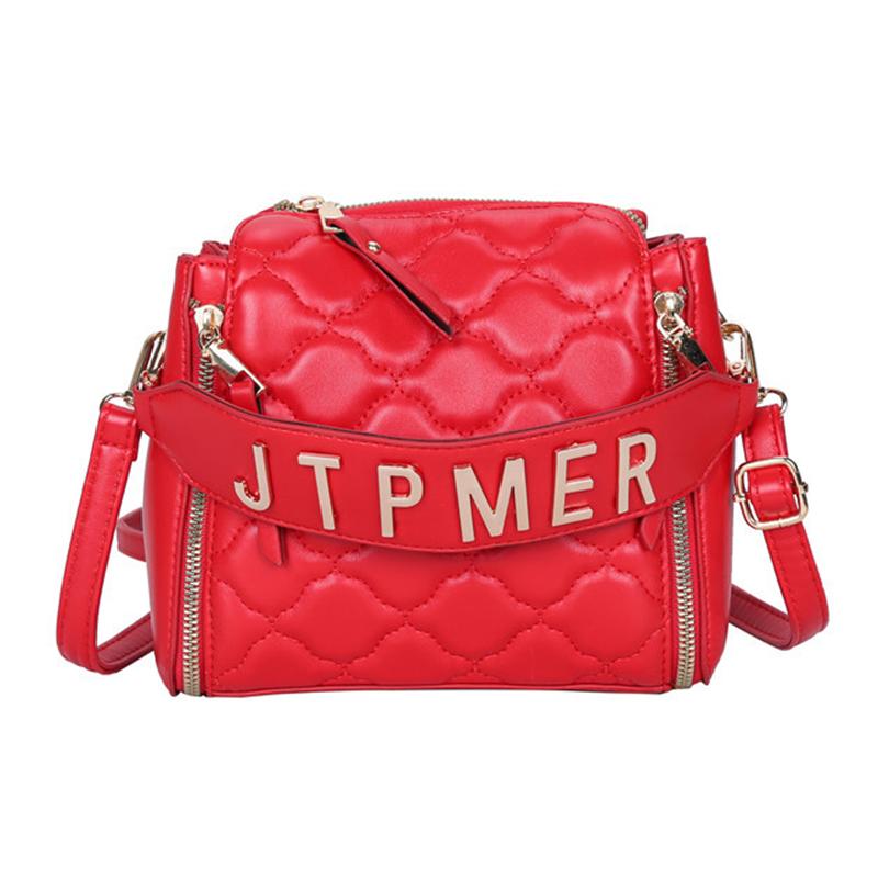 Lovely Trendy Zipper Design Red Crossbody Bag