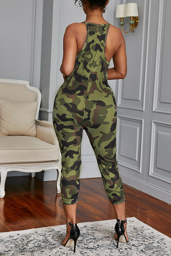 Lovely Casual Camouflage Printed Army Green One-piece Jumpsuit(With Elastic)